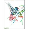 Americanflat Humming Bird and Flowers by Suren Nersisyan Painting Print