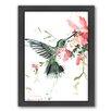 Americanflat Hummingbird Flowers by Suren Nersisyan Framed Painting Print