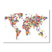 Americanflat World Map Flowers Wall Mural