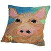 Americanflat Pig With Flower Throw Pillow