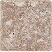 "MS International Tuscany Walnut 4"" x 4'' Travertine Mosaic Tile in Tumbled Brown"