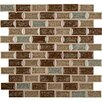 """MS International Fossil Canyon Mounted 1"""" x 2"""" Glass Mosaic Tile in Multi"""