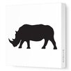Avalisa Silhouettes Rhino Stretched Canvas Art
