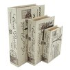 Aspire 3 Piece Paris Faux Book Box Set