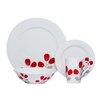 Red Vanilla Winterberry 16 Piece Dinnerware Set in Red & White