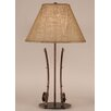 """Coast Lamp Mfg. Rustic Living Iron 2-Fishing Pole Table 28.5"""" H Table Lamp with Empire Shade"""