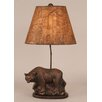"Coast Lamp Mfg. Rustic Living Walking Bear Pot on Wooden Base 26"" H Table Lamp with Empire Shade"