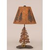 "Coast Lamp Mfg. Rustic Living Iron Pine Trees 21.5"" H Accent Table Lamp with Empire Shade"