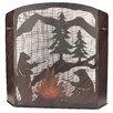 Coast Lamp Mfg. Bears Roasting Marshmallows Scene Wrought Iron Fireplace Screen