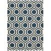Nourison Linear Handgewebter Wohnteppich in Blau
