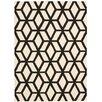 Nourison Linear Handgewebter Wohnteppich in Schwarz und Elfenbein