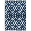 Nourison Linear Handgewebter Wohnteppich in Navyblau