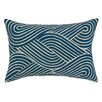 D.L. Rhein Osaka Waves Embroidered Decorative Linen Lumbar Pillow
