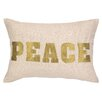 D.L. Rhein Peace Embroidered Decorative Linen Lumbar Pillow