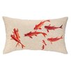 D.L. Rhein Koi Pond Embroidered Decorative Linen Lumbar Pillow