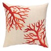 D.L. Rhein Coral Reef Embroidered Decorative Linen Throw Pillow