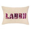D.L. Rhein Laugh Embroidered Decorative Linen Lumbar Pillow