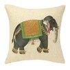 D.L. Rhein Mumbai Elephant Embroidered Decorative Linen Throw Pillow