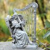 Angel with Harp Chimes Decoration - Joseph's Studio Garden Statues and Outdoor Accents