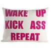 Alexandra Ferguson Mantras Wake Up Kick Ass Repeat Throw Pillow