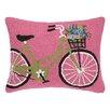Peking Handicraft Green Bike with Flowers Hook Wool Throw Pillow