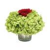 Bougainvillea Rose and Hydrangea Basil in Mercury Glass Votive