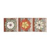 Woodland Imports Antique Styled Floral 3 Piece Wood Metal Wall Décor Set