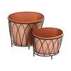 Exclusive 2-Piece Metal Pot Planter Set - Woodland Imports Planters