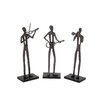 Woodland Imports The Aluminum Wood Musician 3 Piece Assorted Figurine Set