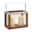 Woodland Imports The Timeless Wood Glass Stainless Steel Hurricane