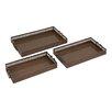 Woodland Imports Beautiful Surprisingly 3 Piece Metal Tray Set