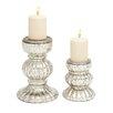 Woodland Imports Mesmerizing Styled 2 Piece Glass Candlestick Set