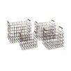 Woodland Imports 4 Piece Classy Metal Wood Basket Set