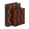 Woodland Imports 2 Piece Creative Styled Fancy Wood Leather Book Box Set