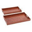 Woodland Imports 2 Piece Simply Charming Wood Real Leather Tray Set