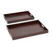 Woodland Imports 2 Piece The Suave Wood Real Leather Tray Set