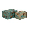 Woodland Imports Creative 2 Piece Styled Wood Canvas Box Set