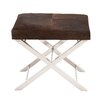 Woodland Imports Stainless Steel Leather Stool