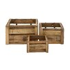 Woodland Imports 3 Piece Rural and Arty Wood Storage Crate Set