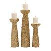 Woodland Imports 3 Piece Ceramic Candlestick Set