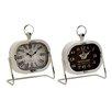 Woodland Imports 2 Piece Classic Metal Table Clock Set