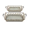 Woodland Imports 2 Piece Well Designed Attractive Metal Rope Tray Set