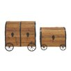 Woodland Imports 2 Piece Wood Metal Wheel Trunk Set