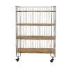 Woodland Imports Modernly Designed Metal Wood Storage Shelf Kitchen Cart