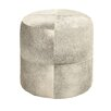 Woodland Imports White Color Fancy Leather Ottoman