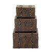 Woodland Imports 3 Piece Wood Leather Case Set