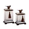 Woodland Imports 2-Piece Polystone Glass Jar Set