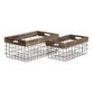 Woodland Imports 2 Piece Classy Styled Metal Wood Basket Set