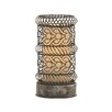 """Woodland Imports Unique 17"""" H Table Lamp with Drum Shade"""