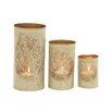 Woodland Imports Leaf Patterned 3 Piece Metal Candle Holder Set
